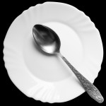 spoon on a white plate on a black background